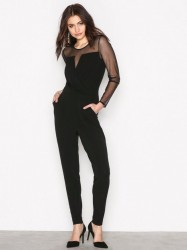 Michael Michael Kors Mesh Wrap Jumpsuit Jumpsuits Black