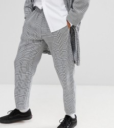 Milk It cropped trousers in check - Grey