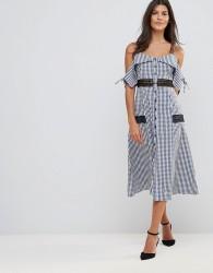Millie Mackintosh Covent Gingham Cold Shoulder Midi Dress - Blue