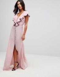 Millie Mackintosh Dorchester Ruffle Front Maxi Dress - Pink