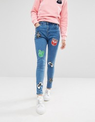 Mini Cream Denim Skinny Jeans With Badge Details - Blue