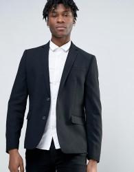 Minimum Waffle Wool Blend Slim Fit Suit Jacket - Black