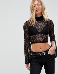 Minkpink Damsel Lace Top With High Neck And Split Sleeves - Black