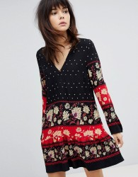 Minkpink Drop Waist Dress Smock Dress With Border Print - Multi