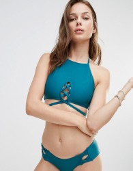 Minkpink Lace Front Bikini Top - Green