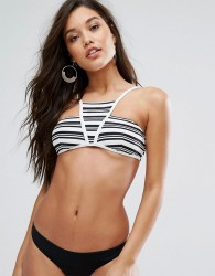 Minkpink Stripes High Neck Bikini Top - Multi