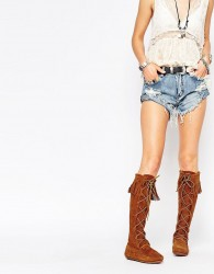 Minnetonka Brown Suede Front Lace Knee High Boots - Brown