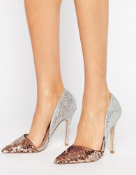 Miss KG Andi Metallic Two Part Heeled Shoes - Silver
