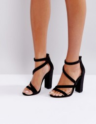 Miss KG Asymmetric Block Heeled Velvet Sandal - Black