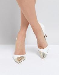 Miss KG Contast Toe Cap Point High Heels - White