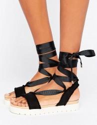 Miss KG Dakota Pom Pom Tie Up Flat Sandals - Black
