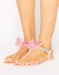 Miss KG Dina Butterfly Toepost Jelly Flat Sandals - Beige