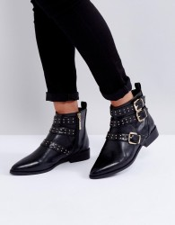 Miss KG Flat Stud Buckle Boots - Black