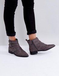 Miss KG Flat Stud Buckle Boots - Grey