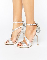 Miss KG Giselle Butterfly Metallic Heeled Sandals - Silver