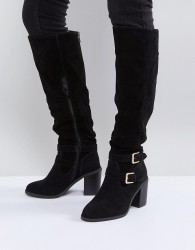 Miss KG Heeled Over The Knee Buckle Boot - Black