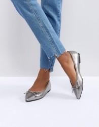 Miss KG Melia Pewter Bow Ballet Pumps - Silver