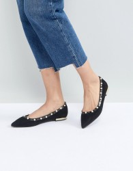 Miss KG Morgan Pearl Studded Pointed Ballet Pumps - Black