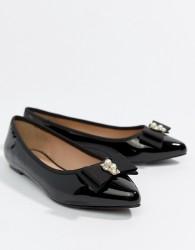 Miss KG Pearl Bow Flat Point Shoe - Black
