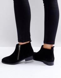 Miss KG Spitfire Suede Zip Flat Ankle Boots - Black