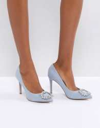 Miss KG Square Jewel Trim Point High Heels - Blue