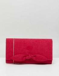 Miss KG Suedette Small Bow Clutch - Pink
