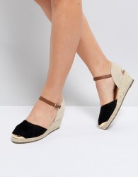 Miss KG Wedge Espadrille With Ankle Strap - Black