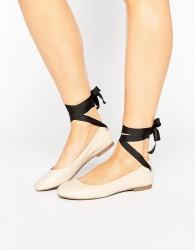 Miss Selfridge Contrast Tie Up Ballet Flat - Beige
