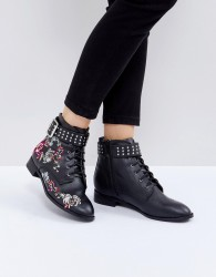 Miss Selfridge Embroidered Flat Ankle Boot - Black