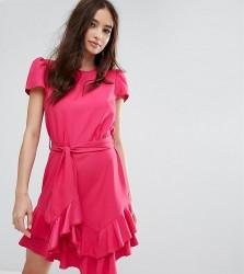 Miss Selfridge Exclusive Tie Waist Ruffle Dress - Pink