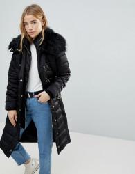 Miss Selfridge Faux Fur Collar Longline Padded Coat - Black