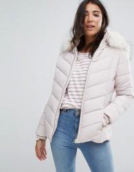 Miss Selfridge Faux Fur Collar Padded Jacket - Navy