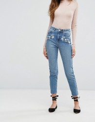 Miss Selfridge Floral Embroidered Mom Jeans - Blue