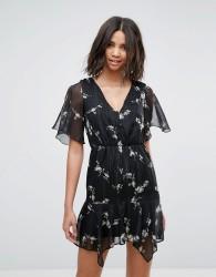Miss Selfridge Floral V Neck Tea Dress - Silver