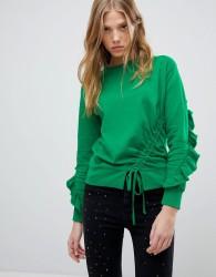 Miss Selfridge Frill Open Back Sweater - Green