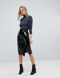 Miss Selfridge Gathered Vinyl Midi Skirt - Black