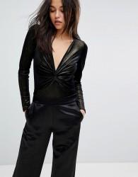 Miss Selfridge Glitter Twist Front Body - Gold