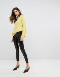 Miss Selfridge High Shine Metallic Legging - Black