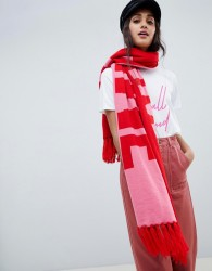 Miss Selfridge knitted slogan scarf in pink & red - Red