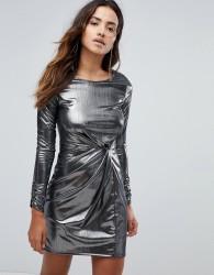 Miss Selfridge Knot Front Foil Mini Dress - Silver