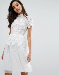 Miss Selfridge Lace And Tulle Layer Dress - White