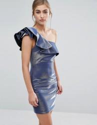 Miss Selfridge Metallic Frill Shoulder Detail Dress - Blue