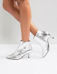 Miss Selfridge Metallic Kitten Heel Ankle Boot - Silver