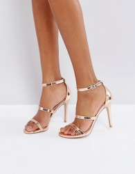 Miss Selfridge Metallic Multi Strap Barely There - Gold
