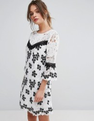 Miss Selfridge Mono Lace Organza Dress - Multi