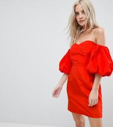 Miss Selfridge Petite Bardot Puff Sleeve Dress - Red