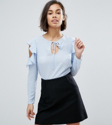 Miss Selfridge Petite Cold Shoulder Dobby Shirt - Multi