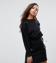 Miss Selfridge Petite Corset Detail Sweater - Black