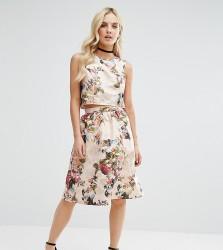 Miss Selfridge Petite Floral Jacquard Midi Skirt - Gold