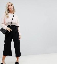 Miss Selfridge Petite Frill Top Trouser - Black
